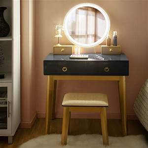 Costway, Vanity, Makeup, Table, Touch, Screen, 3, Lighting, Modes, Dressing, Table, Set, Blacknavy, Blue