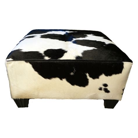 black and white ottoman black and white solid cowhide ottoman