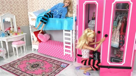 barbie bedroom bunk bed morning routine dmy barby ghrf