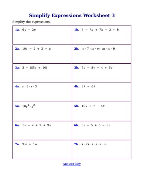 worksheets for simplifying expressions