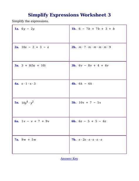 simplifying expressions worksheet pdf worksheets for simplifying expressions