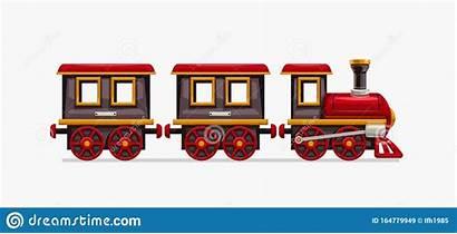 Vignetta Treno Bianco Colorata Illustrazione Carrozze Divertente