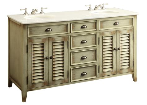 60 Inch Beige Bathroom Vanity Cottage Beach Style White