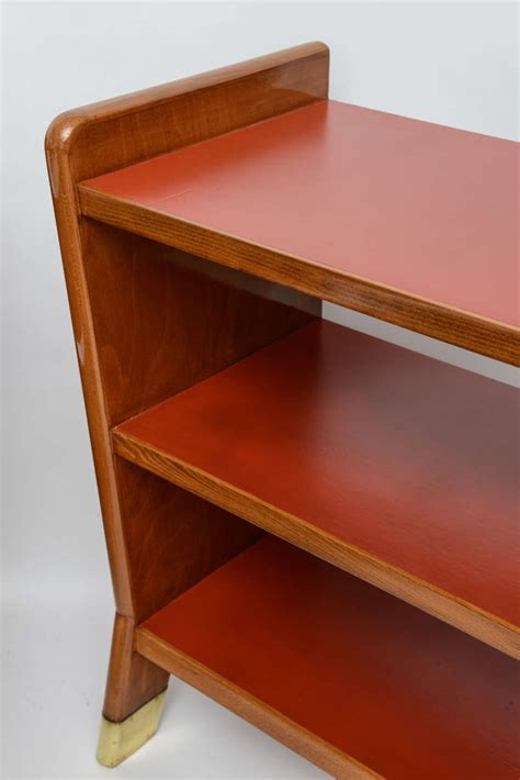 Leather Bookcase by Gio Ponti Fruitwood And Leather Bookcase For