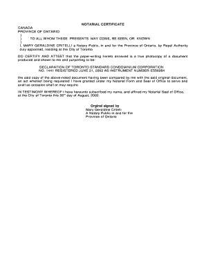 notarial certificate ontario editable fillable
