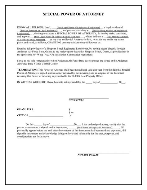 printable sample power  attorney template form real