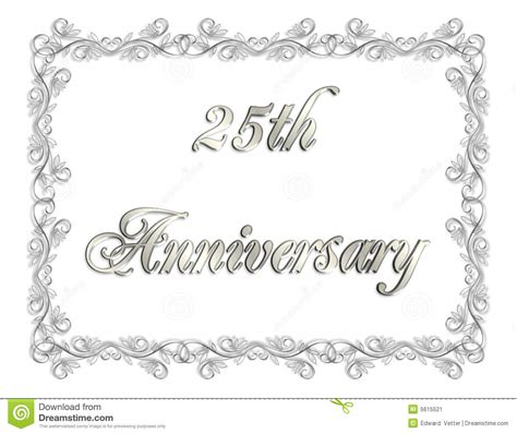25th Anniversary Invitation 3D Illustration Stock