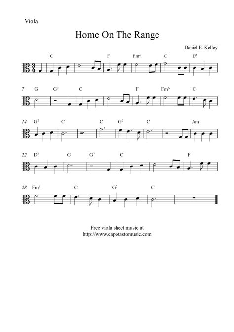 Third position smear exercises for viola. Free easy viola sheet music, Home On The Range