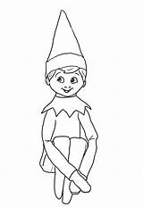 Elf Coloring Shelf Pages Printable Character Via sketch template