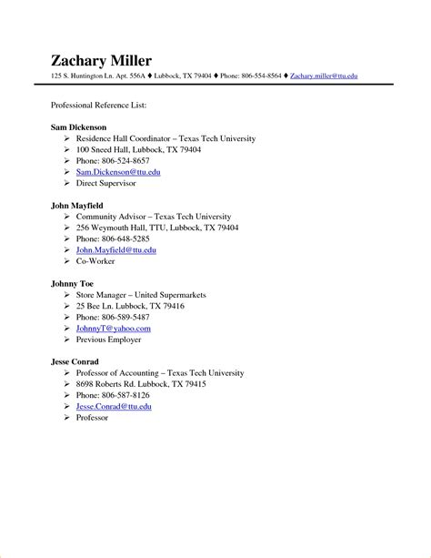 Reference List Template Professional References Template Beepmunk