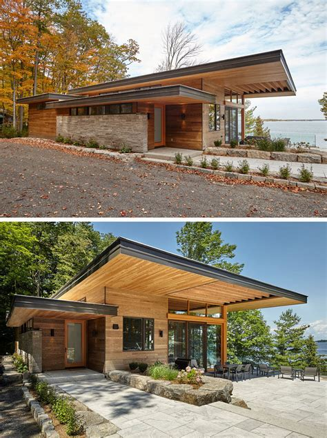 couple  contemporary cottages overlook  lake  canada contemporist