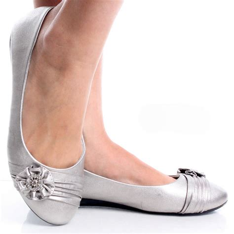 flat silver shoes silver womens ruched rhinestone flower bow slip on ballet