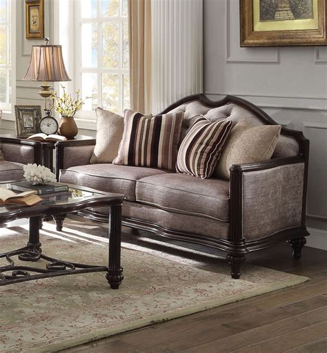 Light Grey Loveseat by York Classic Light Grey Fabric Sofa Loveseat Set In