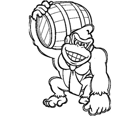 Donkey Kong With Barrel Coloring Pages