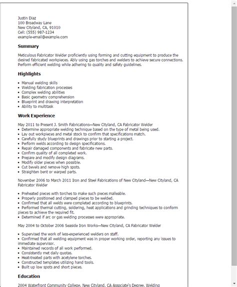 may page welder resume maternity professional tig welder