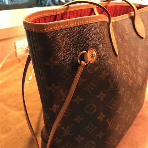 louis vuitton neverfull mm  model monogram  red interior canvas  leather tote tradesy