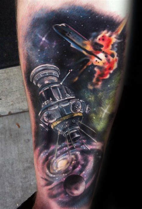 satellite tattoo designs  men outer space ink ideas