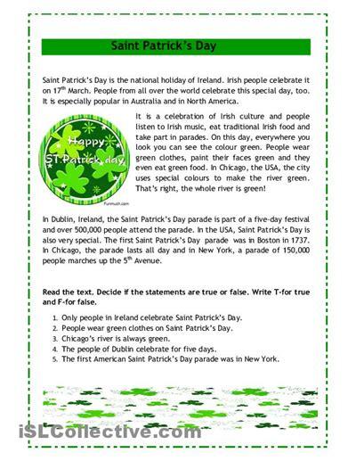 saint patricks day worksheet  esl printable