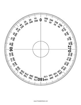 protractor  degrees printable ruler