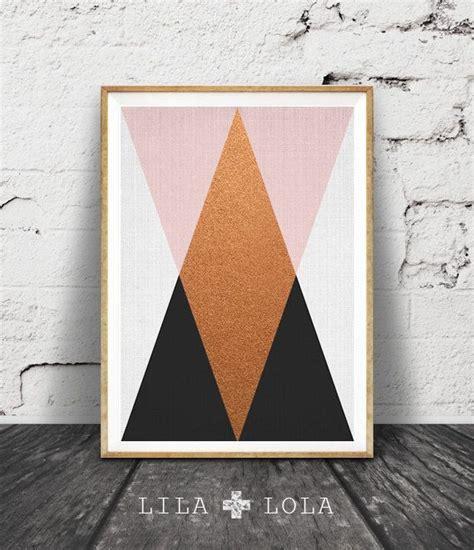 geometric wall art copper print pink black decor modern