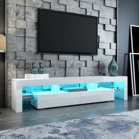 200cm TV Stand Cabinet 2 Drawers LED Entertainment Unit