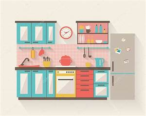 Kitchen with furniture — Stock Vector © Elvetica #64471205