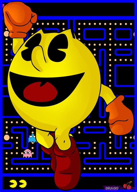 draw pac man step  step video game characters