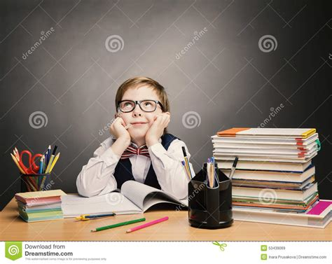 School Child Boy In Glasses Think Classroom, Kid Students