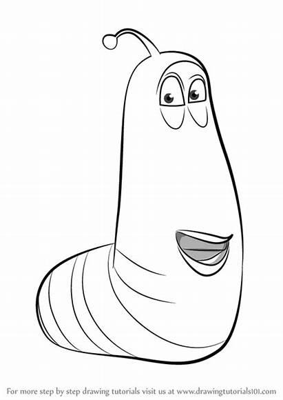 Larva Yellow Draw Drawing Step Coloring Cartoon