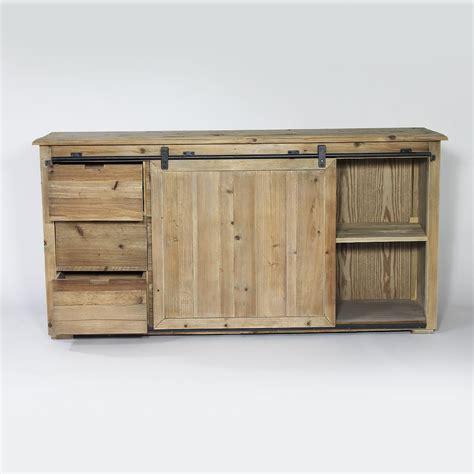 console cuisine buffet industriel porte coulissante 6 tiroirs bois made