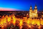 Old Town Square in Prague, Czech Republic at night
