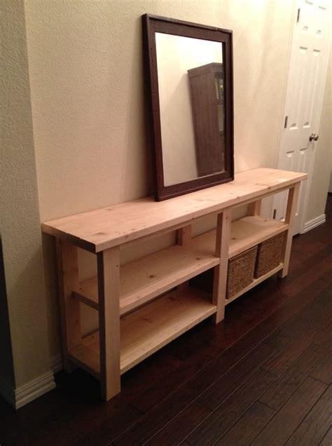 Unfinished DIY Wood Long Console Table With Storage In The