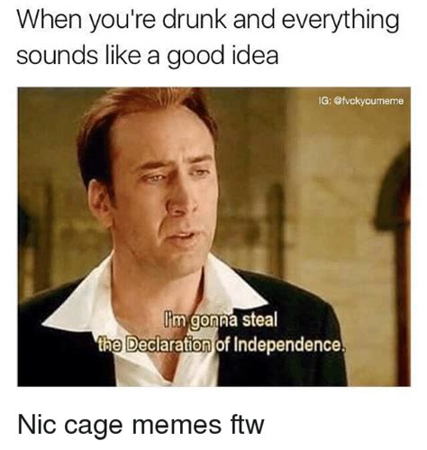 Nic Cage Memes - when you re drunk and everything sounds like a good idea ig lim gonna steal the declaration of