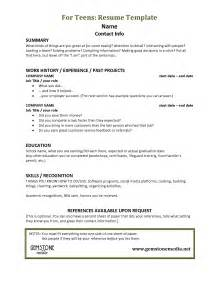 resume for teenagers sle resumes for