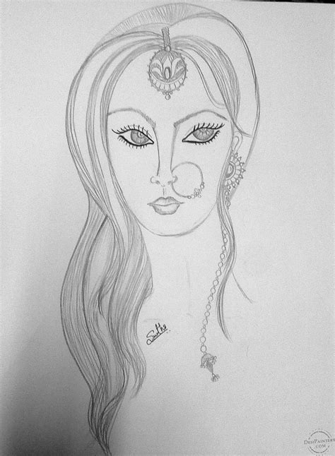 pictures desi girl pencil draw drawings art gallery