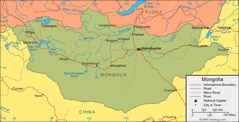 mongolia map  satellite image