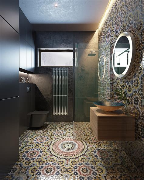 Modern Moroccan Bathroom Design by Decorating Bathroom Backsplash Ideas Showing A Modern And