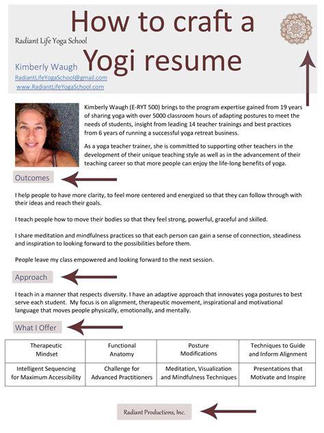how to craft a yogi resume ૐ radiant school