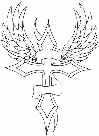 Cross Drawings Drawing Wings Hearts Coloring Pages