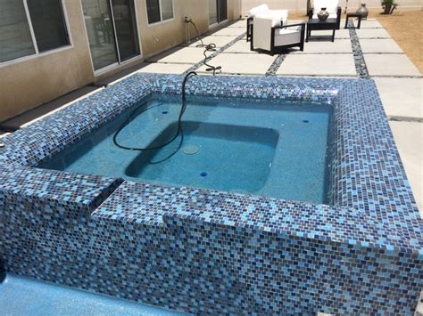 pool spa  dhs  custom concrete mosaic glass tile