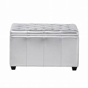 Banc De Rangement Maison Du Monde : banc coffre capitonn en textile enduit argent l 80 cm ~ Premium-room.com Idées de Décoration