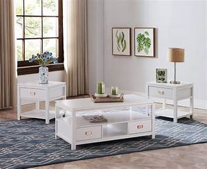 Adelaide, 3, Piece, Storage, Coffee, Table, Set, White, Wood, With, Drawers, U0026, Shelves, Contemporary