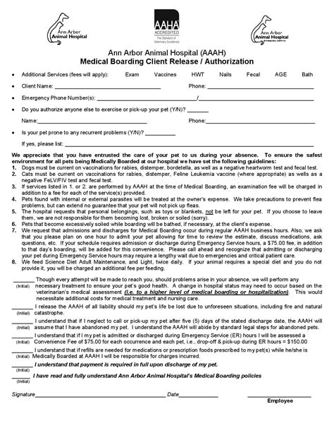 dog grooming consent form downloadable forms and information ann arbor animal hospital