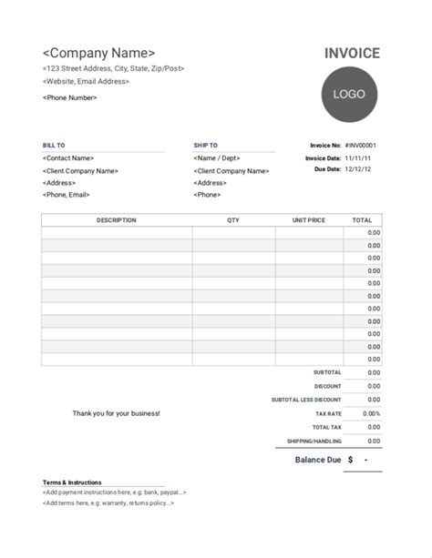 printable invoice template invoice simple