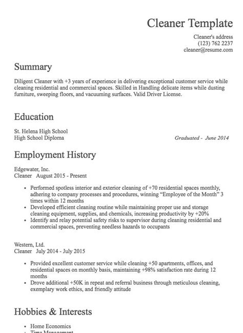 Sle Cleaner Resume by Cleaner Resume Exle Resume