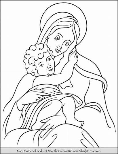 Coloring Mary Mother God Pages Catholic Jesus