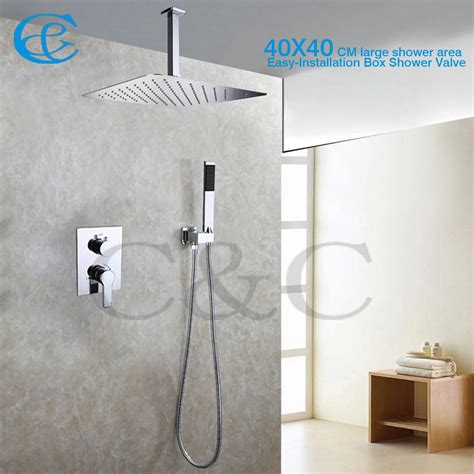 bathroom shower mixer faucet set   ceil mounted