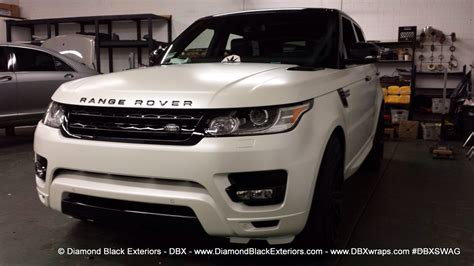 range rover sport wrapped  satin pearl white  dbx diamond black exteriors dbx wraps