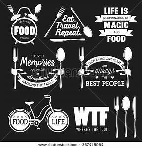 Set of vintage food related typographic quotes. Vector ...