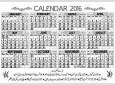 Printable Pakistani Calendar 2016 Included Holiday